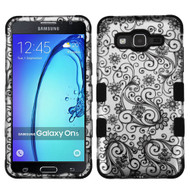 Military Grade Certified TUFF Image Hybrid Armor Case for Samsung Galaxy On5 - Leaf Clover Black