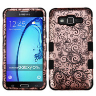 Military Grade Certified TUFF Image Hybrid Armor Case for Samsung Galaxy On5 - Leaf Clover Rose Gold