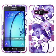 Military Grade Certified TUFF Image Hybrid Armor Case for Samsung Galaxy On5 - Purple Hibiscus Flower Romance