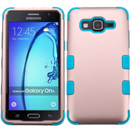 Military Grade Certified TUFF Hybrid Armor Case for Samsung Galaxy On5 - Rose Gold Teal