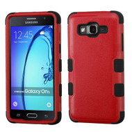 Military Grade Certified TUFF Hybrid Armor Case for Samsung Galaxy On5 - Red