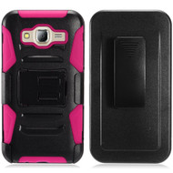 Advanced Armor Hybrid Kickstand Case with Holster for Samsung Galaxy On5 - Black Hot Pink