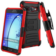 Advanced Armor Hybrid Kickstand Case with Holster for Samsung Galaxy On5 - Black Red