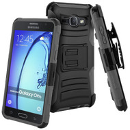 Advanced Armor Hybrid Kickstand Case with Holster for Samsung Galaxy On5 - Black Grey