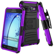 Advanced Armor Hybrid Kickstand Case with Holster for Samsung Galaxy On5 - Black Purple