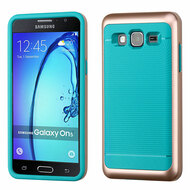 Bumper Frame Hybrid Case for Samsung Galaxy On5 - Rose Gold Teal
