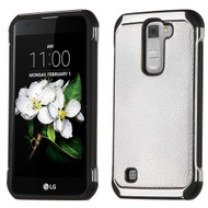 Chrome Tough Anti-Shock Hybrid Case with Leather Backing for LG K7 / K8 / Escape 3 / Treasure LTE / Tribute 5 - Silver