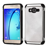 Chrome Tough Anti-Shock Hybrid Case with Leather Backing for Samsung Galaxy On5 - Silver