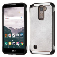 Chrome Tough Anti-Shock Hybrid Case with Leather Backing for LG Stylo 2 Plus - Silver