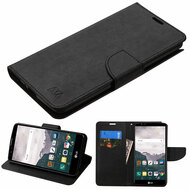 Diary Leather Wallet Case for LG Stylo 2 Plus - Black