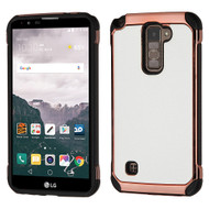 *Sale* Electroplated Tough Anti-Shock Hybrid Case with Leather Backing for LG Stylo 2 Plus - White