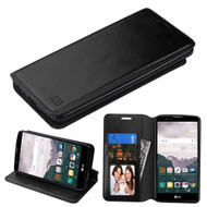 Book-Style Leather Folio Case for LG Stylo 2 Plus - Black