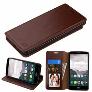 Book-Style Leather Folio Case for LG Stylo 2 Plus - Brown