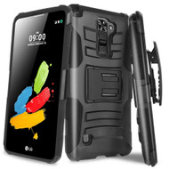 Advanced Armor Hybrid Kickstand Case with Holster for LG Stylo 2 Plus - Black