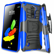 Advanced Armor Hybrid Kickstand Case with Holster for LG Stylo 2 Plus - Black Blue