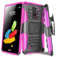 *Sale* Advanced Armor Hybrid Kickstand Case with Holster for LG Stylo 2 Plus - Black Hot Pink