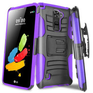 *SALE* Advanced Armor Hybrid Kickstand Case with Holster for LG Stylo 2 Plus - Black Purple