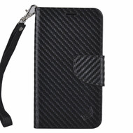 *Sale* Leather Wallet Shell Case for Kyocera Hydro Reach / Hydro Shore / Hydro View - Carbon Fiber