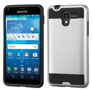 Brushed Hybrid Armor Case for Kyocera Hydro Reach / Hydro Shore / Hydro View - Silver