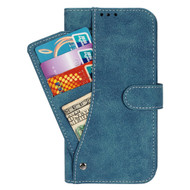 *Sale* Premium Leather Wallet Case with Slide Out Card Holder for Kyocera Hydro Reach / Hydro Shore / Hydro View - Blue