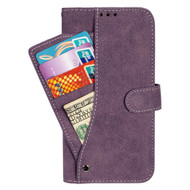 *Sale* Premium Leather Wallet Case with Card Holder for Kyocera Hydro Reach / Hydro Shore / Hydro View - Purple