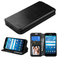 *SALE* Book-Style Leather Folio Case for Kyocera Hydro Reach / Hydro Shore / Hydro View - Black