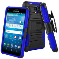 Advanced Armor Hybrid Kickstand Case with Holster for Kyocera Hydro Reach / Hydro Shore / Hydro View - Black Blue