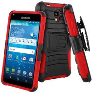 Advanced Armor Hybrid Kickstand Case with Holster for Kyocera Hydro Reach / Hydro Shore / Hydro View - Black Red