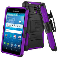 Advanced Armor Hybrid Kickstand Case with Holster for Kyocera Hydro Reach / Hydro Shore / Hydro View - Black Purple