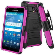Advanced Armor Hybrid Kickstand Case with Holster for Kyocera Hydro Reach / Hydro Shore / Hydro View - Black Hot Pink