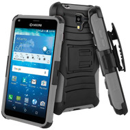 Advanced Armor Hybrid Kickstand Case with Holster for Kyocera Hydro Reach / Hydro Shore / Hydro View - Black Grey