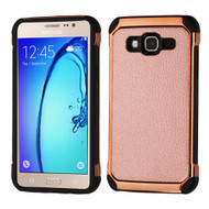 Electroplated Tough Hybrid Case with Leather Backing for Samsung Galaxy On5 - Rose Gold