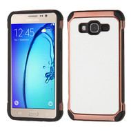 Electroplated Tough Hybrid Case with Leather Backing for Samsung Galaxy On5 - White