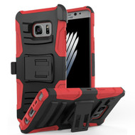 Advanced Armor Hybrid Kickstand Case with Holster for Samsung Galaxy Note 7 - Black Red