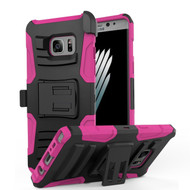 Advanced Armor Hybrid Kickstand Case with Holster for Samsung Galaxy Note 7 - Black Hot Pink