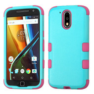 Military Grade TUFF Hybrid Armor Case for Motorola Moto G4 / G4 Plus - Teal Hot Pink