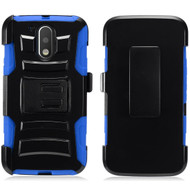 *SALE* Advanced Armor Hybrid Kickstand Case with Holster for Motorola Moto G4 / G4 Plus - Black Blue