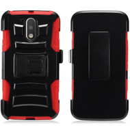 *Sale* Advanced Armor Hybrid Kickstand Case with Holster for Motorola Moto G4 / G4 Plus - Black Red