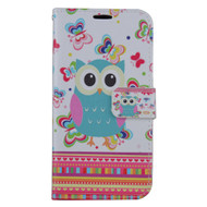 Executive Graphic Leather Wallet Case for Samsung Galaxy Note 7 - Owl Butterfly