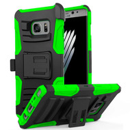 Advanced Armor Hybrid Kickstand Case with Holster for Samsung Galaxy Note 7 - Black Green