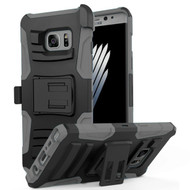 Advanced Armor Hybrid Kickstand Case with Holster for Samsung Galaxy Note 7 - Black Grey