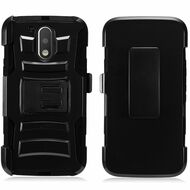 *SALE* Advanced Armor Hybrid Kickstand Case with Holster for Motorola Moto G4 / G4 Plus - Black
