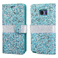Round Brilliant Diamond Leather Wallet Case for Samsung Galaxy Note 7 - Blue
