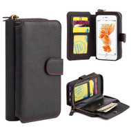 Luxury Coach Pro Series Leather Wallet with Removable Magnet Case for iPhone 6 / 6S - Black
