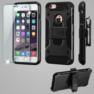 *SALE* 3-IN-1 Kinetic Hybrid Case with Holster and Tempered Glass Screen Protector for iPhone 6 Plus / 6S Plus - Black