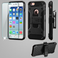 3-IN-1 Kinetic Hybrid Armor Case with Holster and Tempered Glass Screen Protector for iPhone 6 / 6S - Black