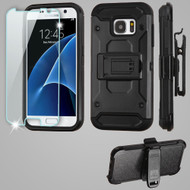 3-IN-1 Kinetic Hybrid Armor Case with Holster and Tempered Glass Screen Protector for Samsung Galaxy S7 - Black