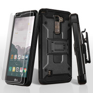 3-IN-1 Kinetic Hybrid Armor Case with Holster and Screen Protector for LG Stylo 2 Plus - Black