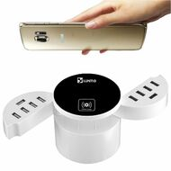 10 USB Ports Power Hub Charger Station with Wireless Charging Pad - White