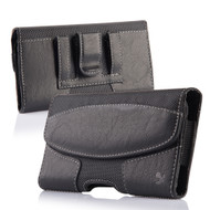 Premium Lateral Leather Pouch Case - Black